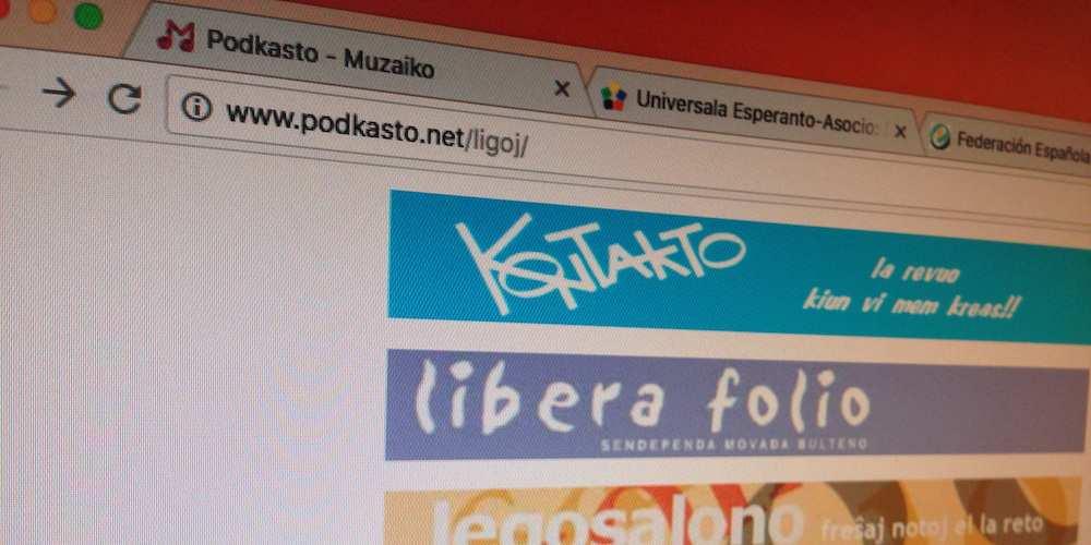 Navegador visitando enlaces sobre esperanto