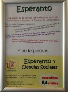 Cartel informativo anunciando la Jornada y la exposición sobre el esperanto.